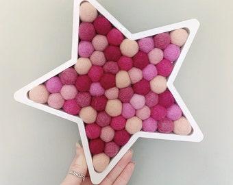 Pom filled star | nursery decor | Pom shapes | home decor | playroom decor | star shape