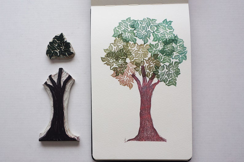 Hand Carved Tree and Leaves Rubber Stamp Set  Tree Stamps image 0