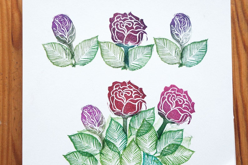 Hand Carved Roses Rubber Stamps  Rose Rubber Stamps  Rose image 0