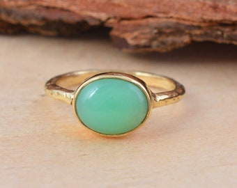 solid sterling silver skinny stacking Emerald Green Chalcedony ring 5mm