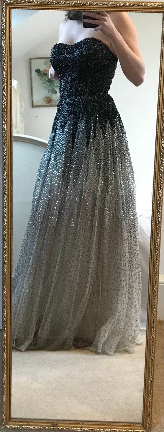 A beautiful vintage early 1950s sequin ball gown b