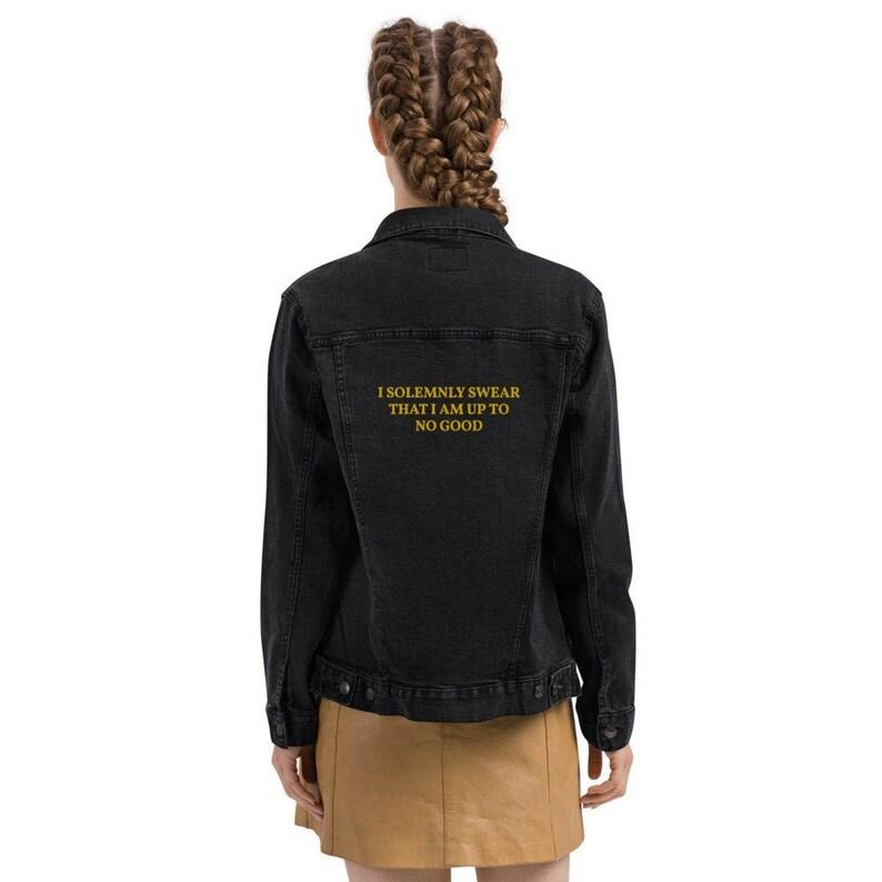 Embroidered Harry Potter denim jacket Harry Potter jacket Harry Potter gift Potterhead Marauder/'s Map I solemnly swear