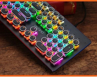 Mechanical 104 key Retro Steampunk Typewriter RGB Keyboard with blue switch and honeycomb rgb mouse, Texas shipping, 5 versions available