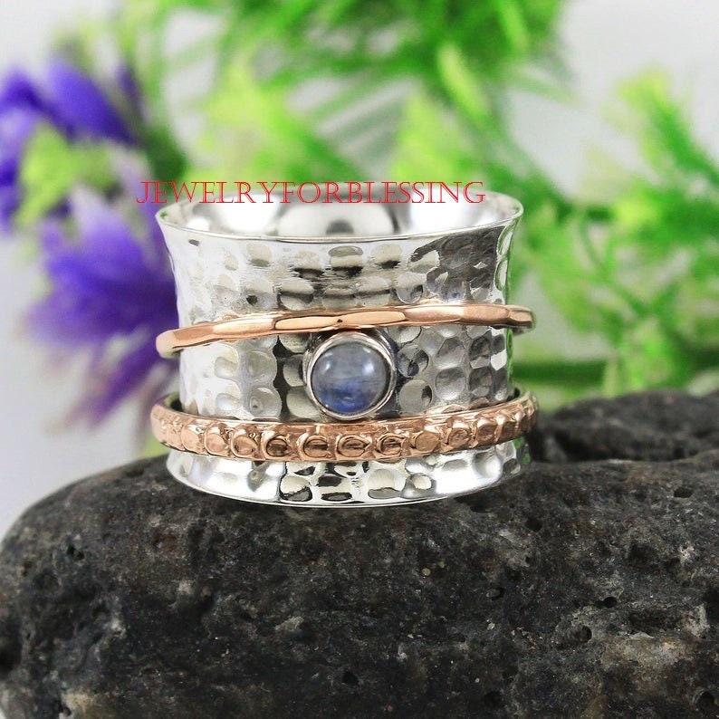 925 Silver Spinner Ring* Labradorite Spin Silver Band Ring* Thumb Ring* Gemstone Spinning Ring* Meditation Ring* Fidget Ring* Yoga Ring*gift