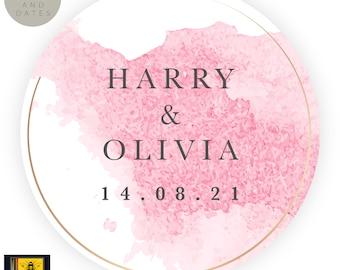 Wedding STICKERS Classic Round Sticker Grey|Pink writing design waterproof PVC. Tear proof wedding branded