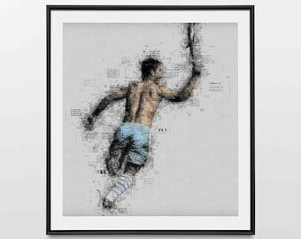 Sergio Aguero - Wall Art Print | Canvas | Photo Block (Manchester City Title-Winning Goal)