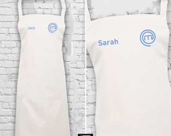 Personalised Embroidered Masterchef Apron - Customised Name with MasterChef Logo Embroidered on Apron & 4 Colour Choice Name
