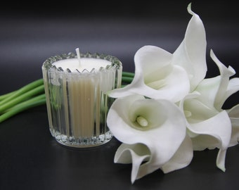 4 inches Small Calla Lily beeswax candle hand twisted
