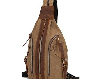 Canvas Retro Men's Shoulder Bags, Messenger bag, Crossbody Chest Bag, Women Backpack Bag, Unisex Bag for Leisure Outdoor Travel Sports