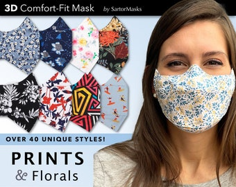 Floral and Print Masks | Easy Breathe 3D Face Mask | No Fog Design | Ships in 1 Day from New York City