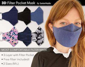 Premium 3-Layer Filter Pocket 3D Face Mask | Anti Fog Mask for Glasses | Free PM2.5 Filter