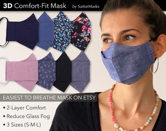 Easy Breathe 3D Face Mask | No Fog Design | Premium Egyptian Cotton | USA Made | Ships in 1 Day from New York City