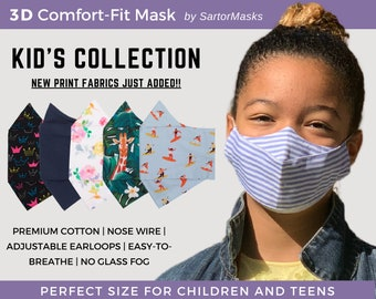 Kids Face Mask | 100% Soft Cotton | Child & Teen Sizes | Fog-free 3D Mask for Glasses | Most Comfortable School Mask | Fast shipping from NY