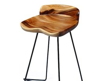 Solid Wood Bar Stool, Teak Counter Stools, Wood Pub Stools, Wood Bar Chairs, Industrial Dining, Farmhouse Stools