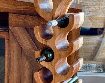 Solid Wood Wine Rack, Housewarming Gifts, Wine Rack, Solid Wood Decor, Wine Stand