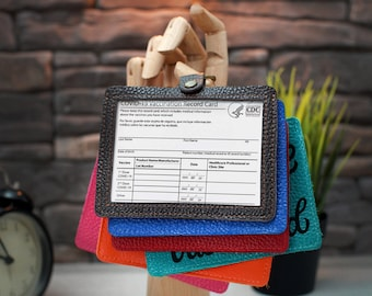 """Vaccination Cardholder, Personalized Vaccination Card Cover, Leather Vaccine Cardholders 3""""x4"""", Custom Sleeve for Medical & Vaccination Card"""