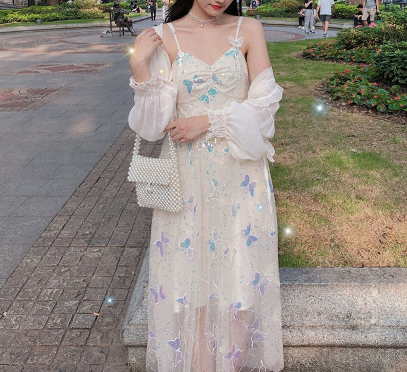 Sling Butterfly Dress, Casual Floral Backless Long Maxi Dress