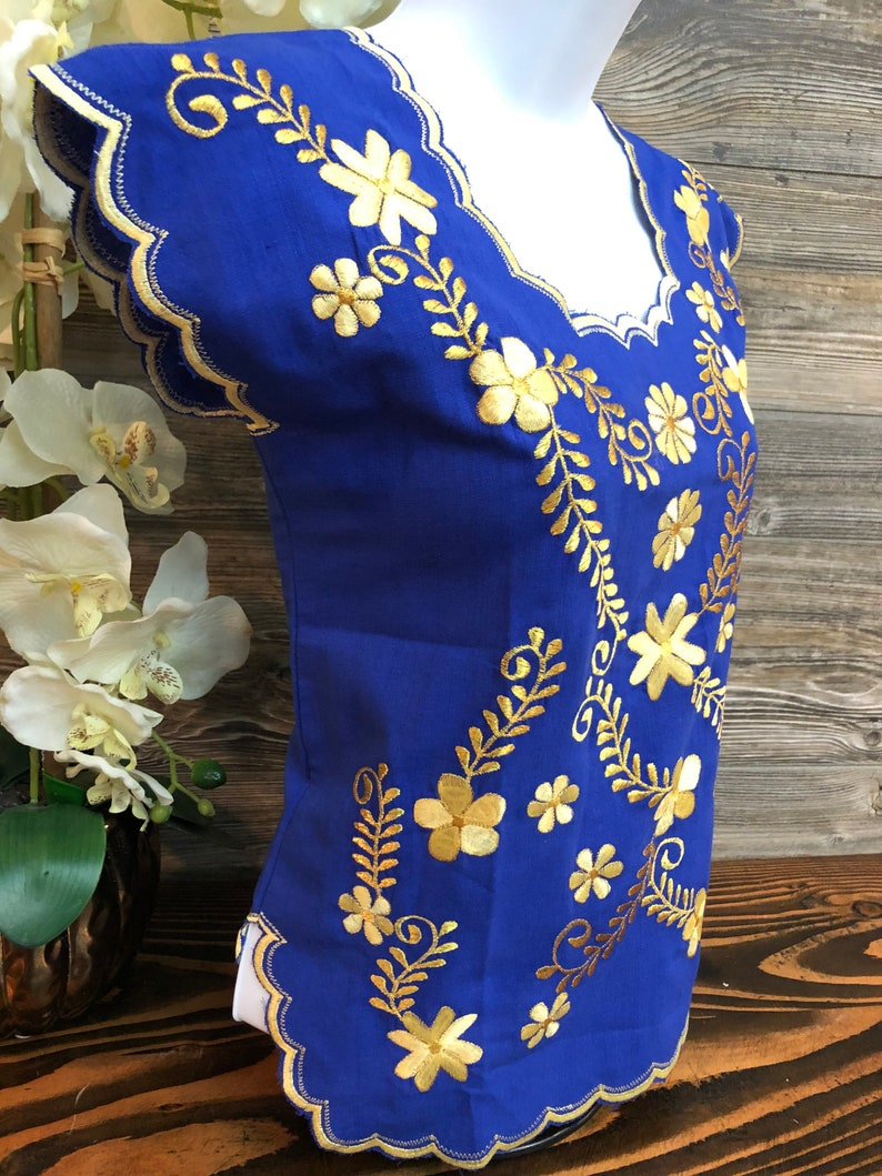 Women Mexican Huipil Blouse Embroidered King Blue Blusa Artesanal Bordada Azul Rey