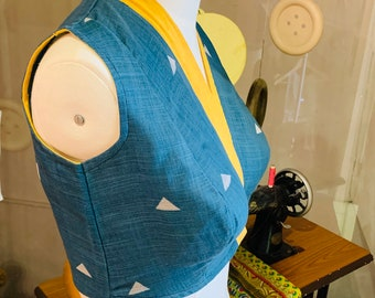 Kimono Style Saree Blouse Pattern-SB24