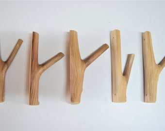 5x creative tree branch hooks, nordic solid wood, set of 5 wooden hangers, wood wall hooks, rustic coat hangers, farmhouse hooks wall