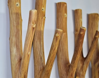 5x large tree branch hook, solid natural wood, set of 5 wooden hooks, wood wall hooks, cabin rustic coat hangers, farmhouse hooks wall hooks