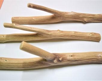 3x large tree branch hook, solid natural wood, set of 3 wooden hooks, wood wall hooks, cabin rustic coat hangers, farmhouse hooks wall hooks