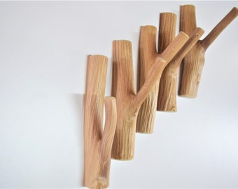 Self adhesive small tree branch hook, solid wood, wooden hangers, wood wall hooks, cabin rustic coat hangers, cottage hooks wall, wall hook