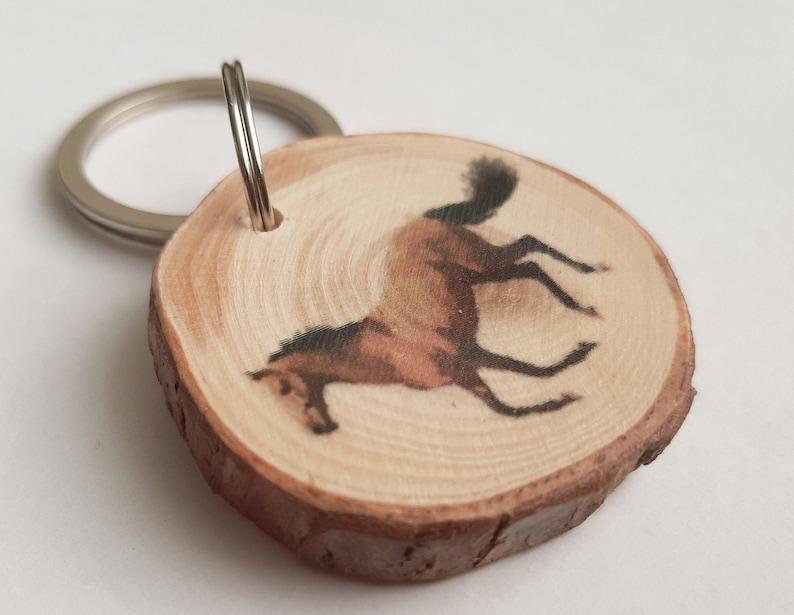 Horse keyring horse keychain customized keyring wood keychain