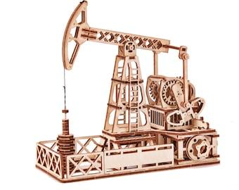 Oil Rig | Plywood Oil Rig | Natural Oil Rig | Wooden Oil Rig | Oil Rig Kit | Mechanical 3D puzzle | DIY