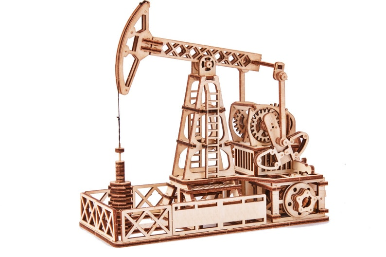 Mechanical 3D puzzle Wooden Oil Rig Oil Rig Kit Oil Rig Plywood Oil Rig Natural Oil Rig DIY