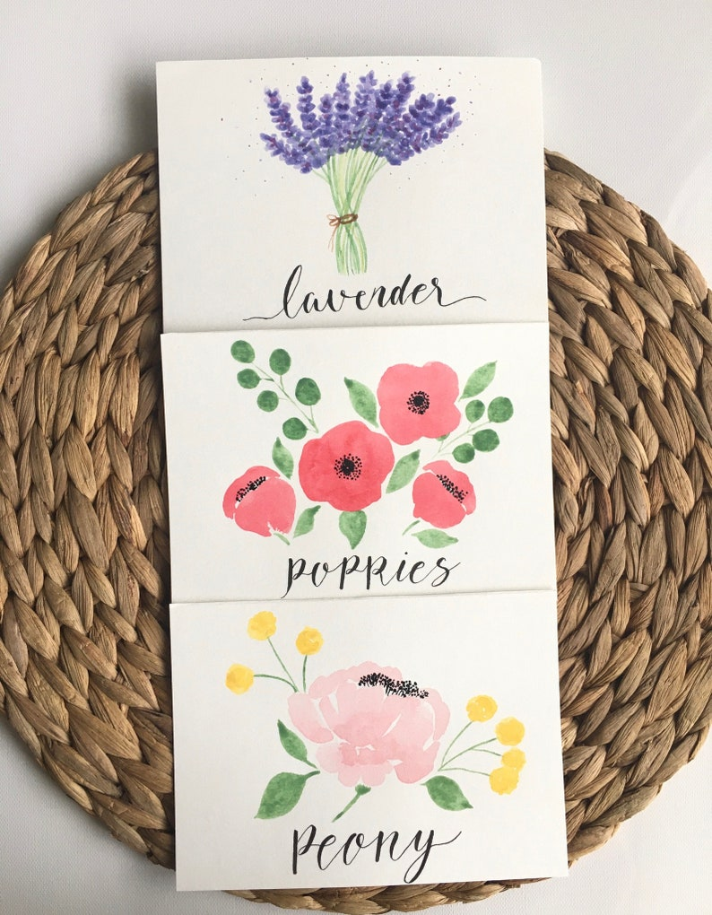 Spring florals card set Calligraphy card Handmade card Envelope included Watercolor card Variety pack