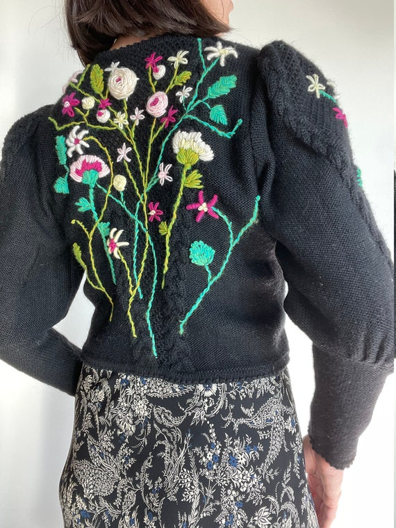 Fantastic vintage hand embroidered mutton sleeves