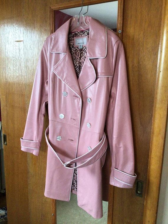 Vintage Ladies Leather Trench Coat