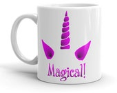 Magical Unicorn Horn Mug, Funny Unicorn Cup, Rainbow Unicorn Mug, Gift For Her, Gift For Him, Office Gift Ideas, Funny Mythical Creature