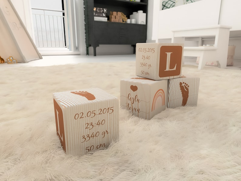 Personalized Baby Gift New Parents Gift Birth Cube Customized baby block with birth foot print