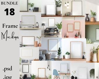 Frame Mockup Bundle, Mockup Frame, Frame Mock Up, Interior Mockup, Artwork Mockup, Minimalist Living Room, Digital Frame PSD, Styled Mockups