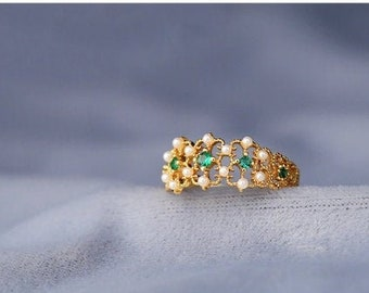 The Wisteria Flower Wreath Ring Vintage Emerald Green Ring Cubic Zircon Adjustable Band Antique Dainty Gold Plated 925 Sterling Silver