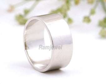 10 mm silver bands, Silver band ring, wide band 10mm Solid 925 Sterling Ring Flat Band Ring in Sizes All mm size band ring