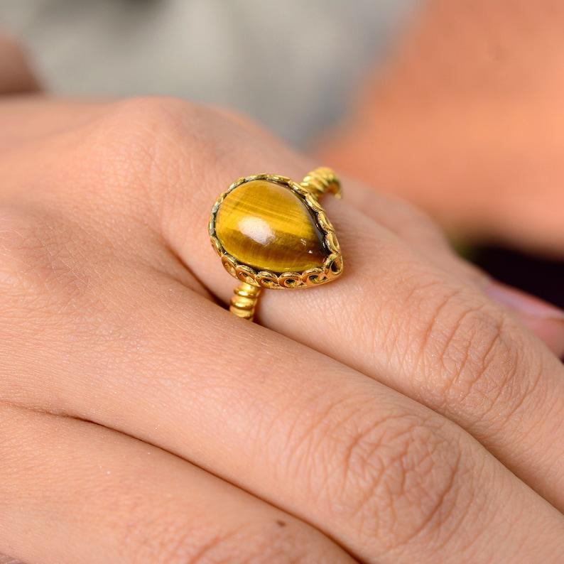 quality Tiger eye ring*gemstone ring*sterling silver ring*silver gemstone ring*handmade ring*natural Tiger eye ring Ramjewel A