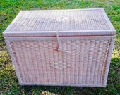 Wooden box with Lid Wooden box and Rattan Cane Wooden Keepsake Vintage Wicker Suitcase with Lid Rattan Storage Box with Lid