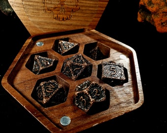 Crypt Dnd Dice Set / Metal Dice Set for Dungeons and Dragons / D&D Rpg Dice Set and Vault Box / Polyhedral D20 Dice / Dnd Gifts Accessories