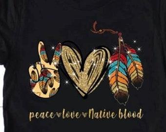 Lovely Native American Tee Peace Love Native American Hippie Heart Native T-Shirt
