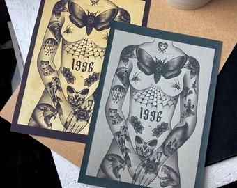 Tattooed Lady A4 Art Print| Wall Art| Traditional Tattoo Flash Art Print| Old School|