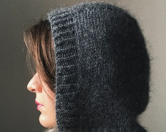 Handmade knitted balaclava merino wool silk mohair