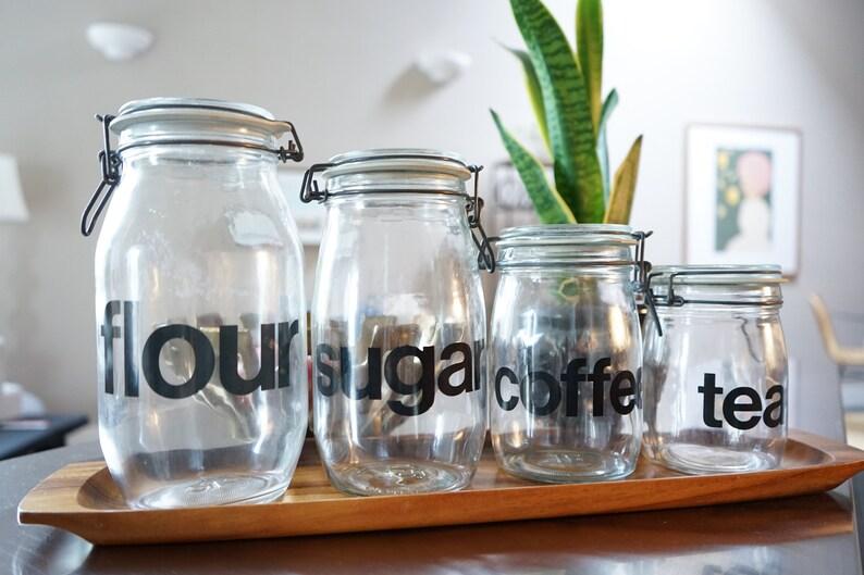 Vintage Glass Kitchen Canisters Set 4 Minimalism Countertop Mid Century Modern Flour Sugar Coffee Tea Wheaton Locking Lids