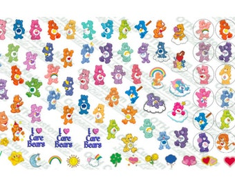 Nail Art Decal / Nail Water Decal / Water Transfer Decal / Care Bear Decal / Care Bear Water Slide / Water Decal