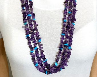 Southwestern Style Multi Strand Stone and Shell Necklace, Handcrafted with Amethyst, Opalite, Obsidian, Turquoise, Lapis and Mother of Pearl