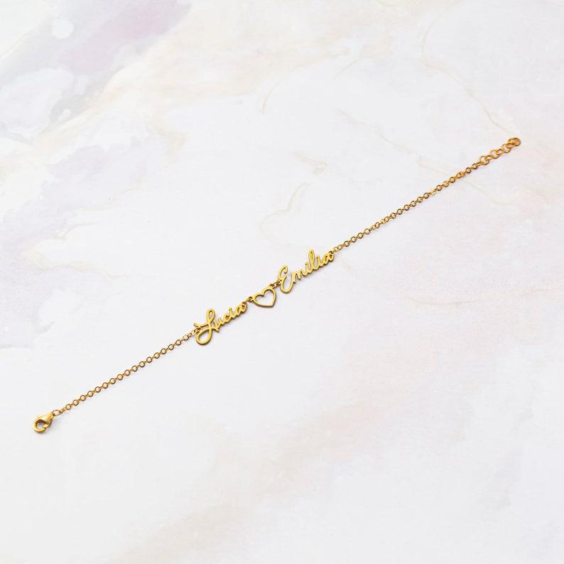 Personalized Name Bracelet,Silver Bracelets For Women,Two Name Bracelet,Kids Name Bracelet,Personalized Bracelet,Valentines Day gift For Her