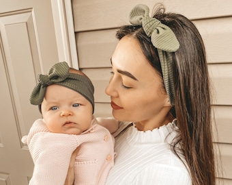 Mothers Day Gift Faux Leather Earrings Girls Hair Bow Mother and Daughter Sets