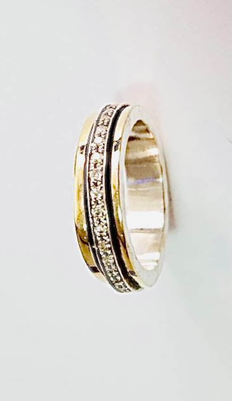 Unique Spinner Ring Boho Gold Ring 9K Yellow Gold Zircon Ring Wide Band Ring White Zircon Ring Gold Statement Ring Chunky Ring